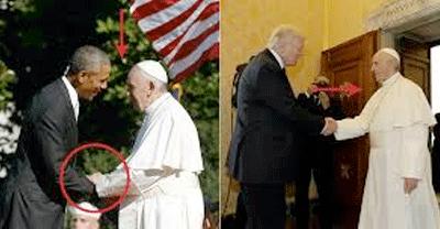 Comparativo dos Apertos de Mãos Entre Papa Francisco, Obama e Trump